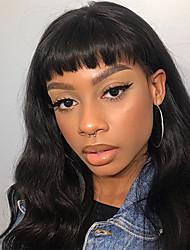 ieftine -Păr Remy Integral din Dantelă Față din Dantelă Perucă Frizură Asimetrică stil Păr Brazilian Stil Ondulat Ondulee Largi Negru Perucă 130% 150% 180% Densitatea părului Moale Dame Dressing ușor Cea mai