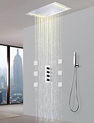 Недорогие -Смеситель для душа - Современный Хром Керамический клапан Bath Shower Mixer Taps / Латунь / Четыре Ручки пять отверстий