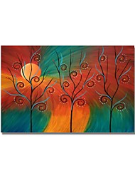 Недорогие -styledecor® современная ручная роспись абстрактные три дерева в дневной масляной живописи на холсте для настенного искусства на обернутом холсте