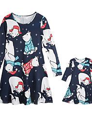 Недорогие -Мама и я Активный Рождество Повседневные Животное Длинный рукав Платье Синий