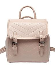 Недорогие -Жен. Мешки PU рюкзак Пуговицы Сплошной цвет Черный / Розовый