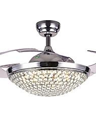 baratos -QINGMING® Ventilador de teto Luz Ambiente Galvanizar Metal Cristal, Tricolor 220-240V Branco quente + branco