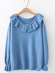 billige -Dame Daglig Ensfarvet Langærmet Normal Pullover, V-hals Blå / Orange / Beige En Størrelse