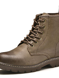 Недорогие -Жен. Наппа Leather Зима Винтаж / На каждый день Ботинки На плоской подошве Сапоги до середины икры Черный / Хаки