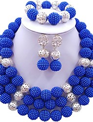 Недорогие -Жен. Многослойность Комплект ювелирных изделий - Мода Включают Струнные ожерелья Темно-синий / Красный / Ярко-розовый Назначение Свадьба