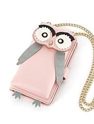 Недорогие -Жен. Мешки PU Мобильный телефон сумка Бусины Животное Синий / Розовый / Бежевый
