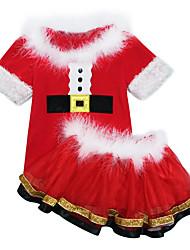 tanie -Dzieci Dla dziewczynek Moda miejska Święta Solidne kolory Krótki rękaw Krótkie Poliester Komplet odzieży Czerwony
