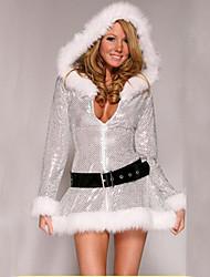 baratos -Fantasias de Cosplay Santa Clothe Mulheres Adolescente Adulto Natal Natal Ano Novo Festival / Celebração Terylene Roupa Prata Férias