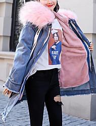 Недорогие -Жен. Джинсовая куртка Уличный стиль / Панк & Готика - Однотонный / Буквы Меховая оторочка