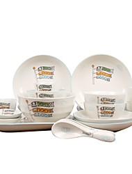 Недорогие -1 комплект 20 шт Обеденные тарелки Столовые наборы Стеклянная посуда посуда Фарфор Керамика Животные Очаровательный Heatproof