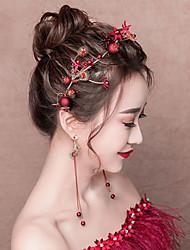 Недорогие -Декорации Кольца Свадебные комплекты ювелирных изделий Элегантный стиль Жен. Красный Мозаика Мода Головные уборы Серьга Сплав костюмы