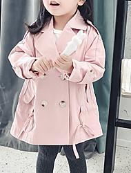 Χαμηλού Κόστους -Νήπιο Κοριτσίστικα Βασικό Μονόχρωμο Μακρυμάνικο Βαμβάκι Καμπαρντίνα Ανθισμένο Ροζ