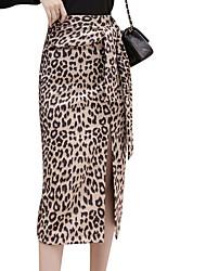 baratos -Mulheres Básico Evasê Saias - Leopardo