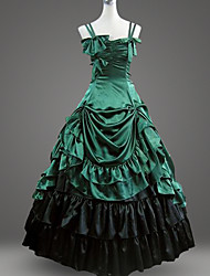 Недорогие -Classic Lolita Рококо Барроко Платья Маскарад Вечеринка выпускного вечера Жен. Хлопок Японский Косплей костюмы Большие размеры Зеленый / черный С пышной юбкой В пол