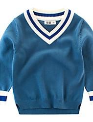 저렴한 -토들러 남아 베이직 프린트 긴 소매 폴리에스테르 스웨터 & 가디건 푸른