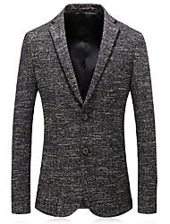 저렴한 -남성용 일상 가을 보통 블레이져, 솔리드 셔츠 카라 긴 소매 폴리에스테르 옐로우 XL / XXL / XXXL