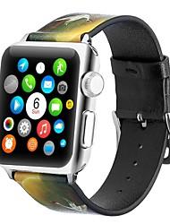 Недорогие -Настоящая кожа Ремешок для часов Ремень для Apple Watch Series 4/3/2/1 Черный / Желтый 23см / 9 дюйма 2.1cm / 0.83 дюймы