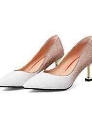 baratos -Mulheres Sintéticos Primavera Verão Doce / Minimalismo Sapatos De Casamento Salto Sabrina Dedo Apontado Gliter com Brilho Branco / Vermelho / Festas & Noite