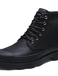 Недорогие -Муж. Кожаные ботинки Кожа Весна & осень Классика / На каждый день Ботинки Сохраняет тепло Ботинки Черный