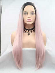 baratos -Perucas Lace Front Sintéticas Kinky Liso Rosa Corte em Camadas 130% Densidade Cabelo Humano Cabelo Sintético 26 polegada Feminino Preta / Rosa Peruca Mulheres Comprimento médio Frente de Malha Preto
