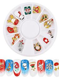 ieftine -12 pcs Ecologic / Cea mai buna calitate Materiale ecologice Bijuterie unghii Pentru Crăciun Fulg nail art pedichiura si manichiura Crăciun / Zilnic La modă / Modă