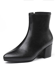 저렴한 -여성용 구두 PU 가을 겨울 부츠 청키 굽 종아리 중간 높이 부츠 일상 용 골드 / 블랙 / 슬리버