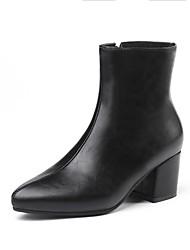 billige -Dame Fashion Boots PU Høst vinter Støvler Tykk hæl Støvletter Gull / Svart / Sølv
