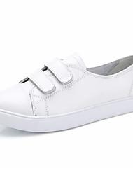 Недорогие -Жен. Кожа Весна лето На каждый день На плокой подошве На плоской подошве Круглый носок Белый / Черный