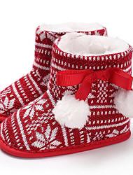 Недорогие -Девочки Обувь Хлопок Зима Обувь для малышей / Меховая подкладка Ботинки Пом пом для Дети Красный