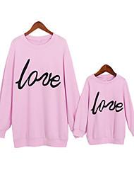 Недорогие -Мама и я Классический Повседневные Буквы Длинный рукав Полиэстер Набор одежды Розовый