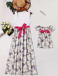Недорогие -Мама и я Классический Повседневные Цветочный принт Без рукавов Ассиметричное Платье Белый