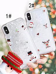 Недорогие -Кейс для Назначение Apple iPhone XS / iPhone XS Max Движущаяся жидкость / С узором Кейс на заднюю панель Рождество Твердый ПК для iPhone XS / iPhone XR / iPhone XS Max