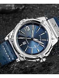 Недорогие -ASJ Муж. Нарядные часы Наручные часы Японский Японский кварц Натуральная кожа Черный / Синий 100 m Защита от влаги Календарь Аналоговый Классика На каждый день Мода - Черный Синий / Один год