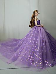 Недорогие -Платье куклы Вечеринка Для Barbie Лиловый Синий Розовый Тюль Кружево Пайетки Платье Для Девичий игрушки куклы