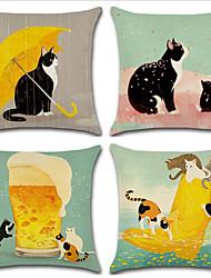 baratos -4.0 pçs Algodão / Linho Moderno / Contemporâneo / Fronha, Animal / Desenho Animado / Moderno Desenho / Alta qualidade