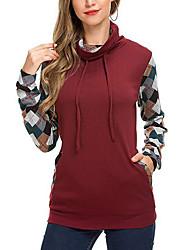 Недорогие -женский длинный рукав с капюшоном - цветной блок с капюшоном