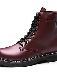 Недорогие -Жен. Полиуретан Осень На каждый день Ботинки На толстом каблуке Круглый носок Сапоги до середины икры Черный / Коричневый