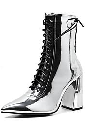 Недорогие -Жен. Полиуретан Наступила зима На каждый день / Английский Ботинки На толстом каблуке Заостренный носок Сапоги до середины икры Серебряный / Для вечеринки / ужина