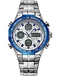Недорогие -WWOOR Муж. Спортивные часы Японский Японский кварц 30 m Защита от влаги Календарь Хронометр Нержавеющая сталь Группа Аналого-цифровые Мода Серебристый металл / Золотистый -