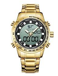 Недорогие -Муж. Спортивные часы Японский Японский кварц Черный / Золотистый 30 m Защита от влаги Календарь Фосфоресцирующий Аналого-цифровые Мода - Черный Золотистый