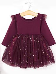 Недорогие -Дети (1-4 лет) Девочки Классический Милая Однотонный Длинный рукав Платье Винный
