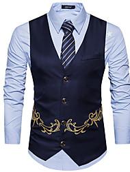 저렴한 -남성용 일상 사업 보통 조끼, 솔리드 셔츠 카라 긴 소매 폴리에스테르 블랙 / 네이비 블루 / 카키 L / XL / XXL