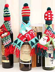 Недорогие -3 шт. Рождественские украшения бутылки вина поставляет вязать шарф шляпа набор бутылочных мешков