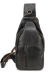 Недорогие -Муж. Мешки Воловья кожа Слинг сумки на ремне Сплошной цвет Черный / Коричневый