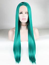 Χαμηλού Κόστους -Συνθετικές μπροστινές περούκες δαντέλας Ίσιο / Μεταξένια Ίσια Πράσινο Μέσο μέρος Πράσινο 180% Ανθρώπινο πυκνότητα των τριχών Συνθετικά μαλλιά 14-26 inch Γυναικεία Μαλακό / Μεταξένιο / Ομαλό Πράσινο