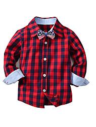 Недорогие -Дети Мальчики Классический Однотонный Длинный рукав Хлопок Рубашка Синий