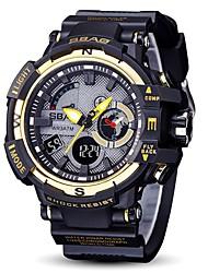 Недорогие -Муж. Спортивные часы Японский Цифровой 30 m Защита от влаги Календарь Секундомер PU Группа Аналого-цифровые Кольцеобразный Мода Черный - Красный Синий Черный / Белый Два года Срок службы батареи