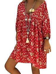 Недорогие -женский плюс размер свободно сменное платье длина колена глубокий v