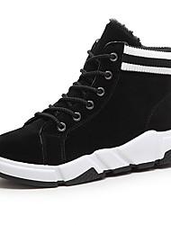 Недорогие -Жен. Полиуретан Осень На каждый день Ботинки Микропоры Круглый носок Сапоги до середины икры Черный / Серый / Хаки