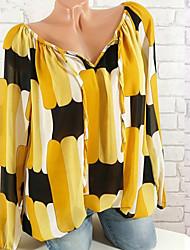 Недорогие -женская хлопчатобумажная блузка размера размера - цветной блок с плеча